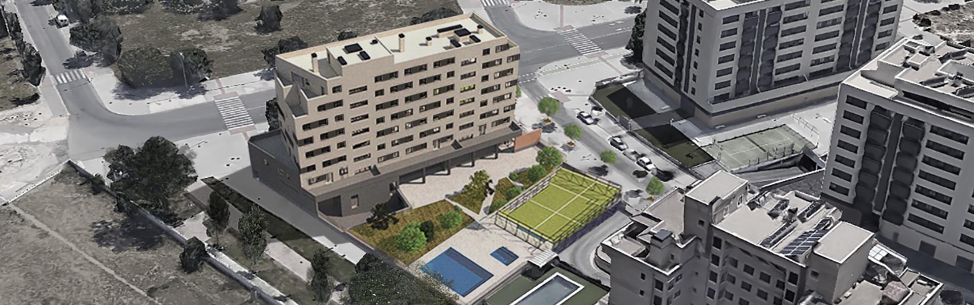 vista aérea viviendas Residencial Las Moreras