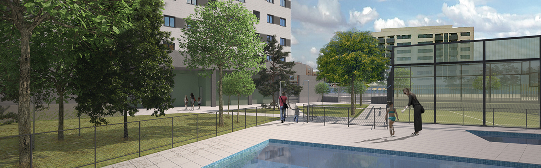 piscina y zonas comunes viviendas Residencial Las Moreras